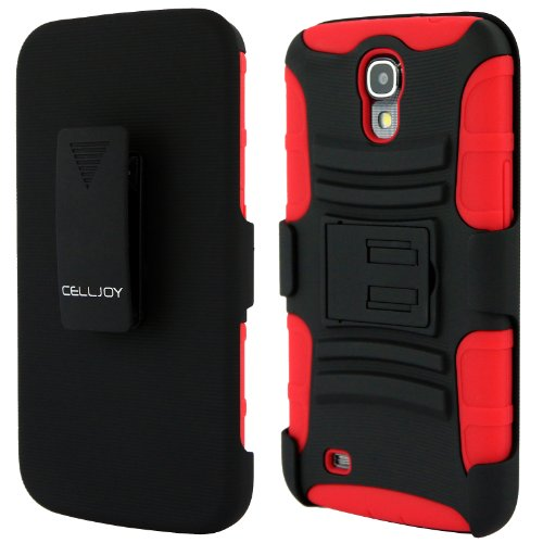 Celljoy Samsung Galaxy Mega 6.3 Case Protective [Future Armor] Ultra Fit Dual Protection Cover With Belt Clip Holster For Galaxy Mega 6.3 [Retail Packaged] (Red / Black)