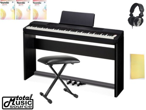 Casio Privia Px150Bk Digital Piano Keyboard, Complete Home Bundle Px150Bl Pack Includes Tms Polishing Cloth, Bench, Pro Headphones, Casio Sp33 Pedal Assy, Suzuki Music School 1,2,3