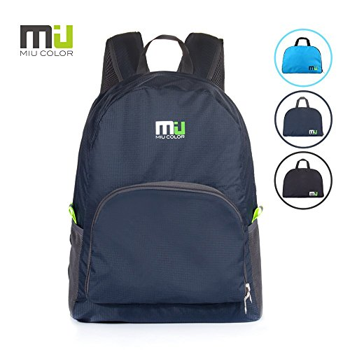 MIU COLOR® 25L Foldable and Durable Lightweight Backpack - Packable Waterproof Daypack for Traveling, Hiking, Cycling, Camping Outdoor Events - Blue Grey Miu Miu Bags Light
