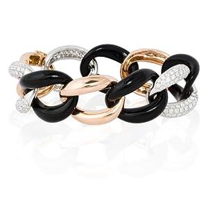 Diamond 18k Two Tone Gold and Black Onyx Link Bracelet