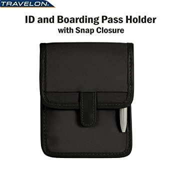 Travelon ID Boarding Pass Holder Snap Closure Secure Passport Travel Wallet Neck 6250