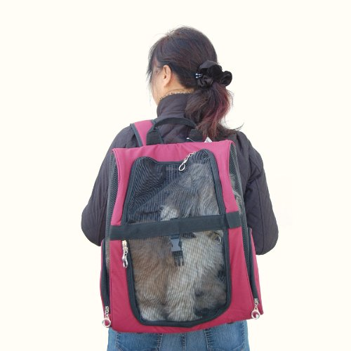Pet Roller Carrier And Backpack For Dogs And Cats Up To 20 Lbs. - Burgundy [14 In. X 10 In. X 19 In.] back-564182