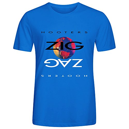 The Hooters Zig Zag Tee Shirts For Men O Neck Blue