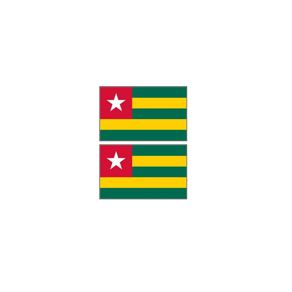2 Togo Togolese Flag Stickers Decal Bumper Window Laptop Phone Auto Boat Wall