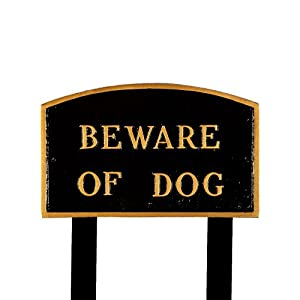 Montague Metal Products SP-4L-BG-LS Large Black and Gold Beware of Dog Arch Statement Plaque with 2 23-Inch Lawn Stakes