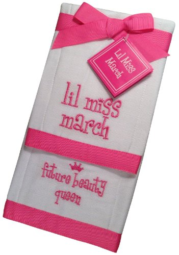 Lil Miss March Future Beauty Queen Baby Burp Cloths - Set of 2
