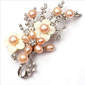 pink pearl white gold plated flower brooch pin 40x70mm