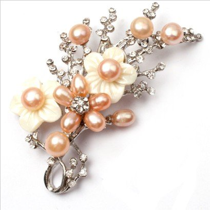 pink pearl white gold plated flower brooch pin