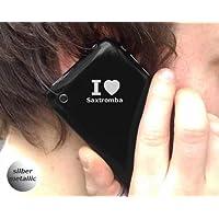 4 Aufkleber - SILBER - I love Saxtromba - Nummernschild, Spiegel, Handy Sticker