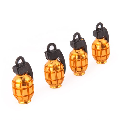 HDE (TM) Gold Grenade Shaped Aluminum Tire Valve Caps - Set of 4