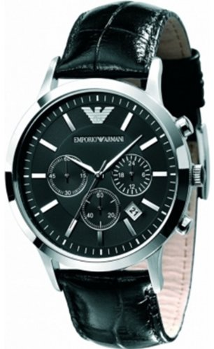 Emporio Armani Chronograph Black Dial Black Leather Men's Watch - AR2447