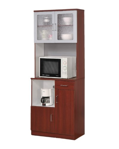 Cheap kitchen microwave stand with glass door cherry for Cherry kitchen cabinets with glass doors