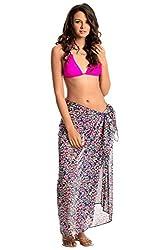 PrettySecrets Women's Swimwear Sarongs (077232_Blue, Pink, Multi Print and Floral_Free Size)