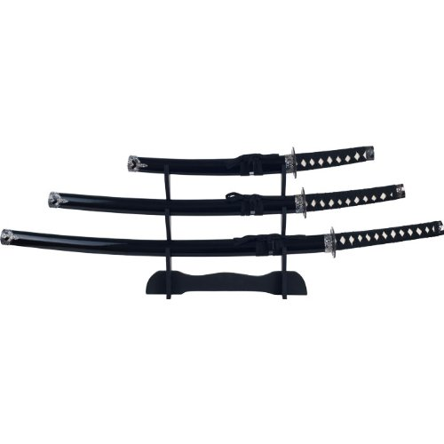 Whetstone Cutlery Black Stealth Ninja Samurai Sword Set With Stand (3-Piece)