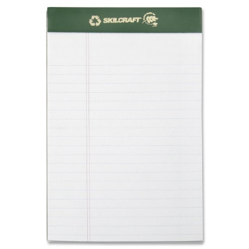 Skilcraft 7530-01-516-9629 100 Percent Recycled Process Chlorine-Free Paper Pad, Junior Size, 5 X 8 Inch, White (Pack Of 12)