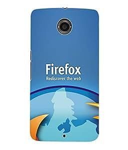 Fuson 3D Printed Firefox Wallpaper Designer Back Case Cover for Motorola Google Nexus 6 - D941