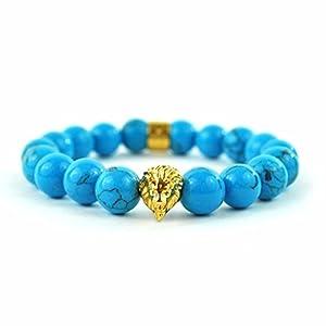 """Turquoise Gemstone Lion Beaded Bracelet Shamballa Style 9.0"""" Mens Ladies On Sale"""
