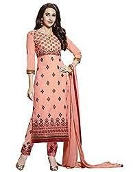 Rivafab Karishma Kapoor Orange Pure Cotton Cambric Straight Cut Dress Material.