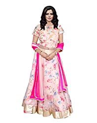 Indiweaves Women Semi Stitched Pink Net, Dupion Silk and Sequenced Fabric on the Yoke along with Shimmer Gold Border Dress Material