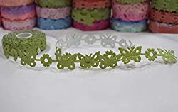 AsianHobbyCrafts Polyester Fabric Adhesive Laser Cut Design Ribbons Printed Multi-Colored used for Scrapbooking, Hobbycrafts, Gift-wrapping etc. Width: 1.8cm; Qty: 1 Roll color per pack Length: 5 Mtrs(approx.) (Peach adhesive)