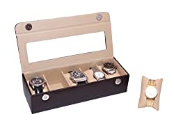 Essart PU Leather watchbox for 5watches -Brown (10004-P-Brown)