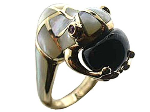 White Mother Of Pearl and Onyx Amphibious Grasp Ring, 14k Gold