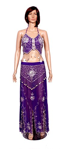 A 2pc Set of Belly Dance Dress Purple Color Halter Bra Choli Hip Wrap Skirt Belly Dance Costume