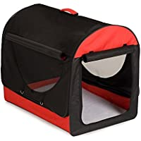 BUNNY BUSINESS Fabric Soft Dog Puppy Cage Folding Crate with Fleece and Carry Case, Medium, 24-inch, Red/ Black