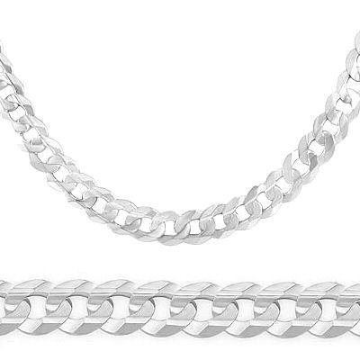 14K Solid White Gold Cuban Curb Chain Necklace 3.8Mm 18