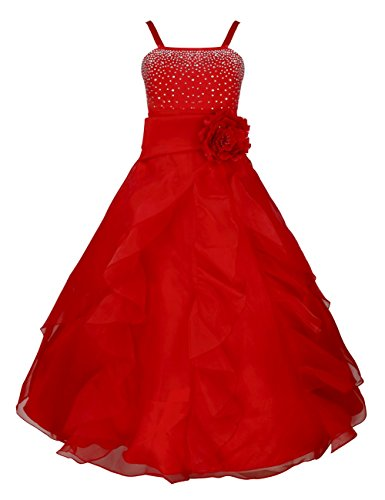 TIAOBU Girls Princess Organza Flower Tutu Wedding Party Pageant Gown Dress Red 8