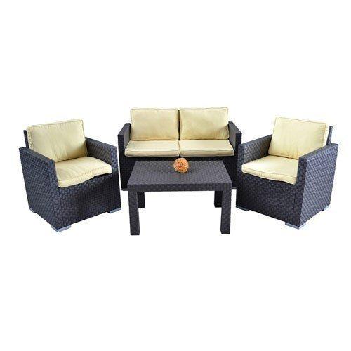Zebra Gartenlounge Sitzgruppe Tisch Rattanmöbel Gartenmöbel Balkonmöbel Lounge, Farbe:anthrazit online bestellen