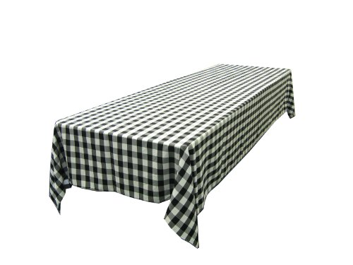 60 X 102 Inch Checkered Tablecloth Black and White. Exclusively By LA ...