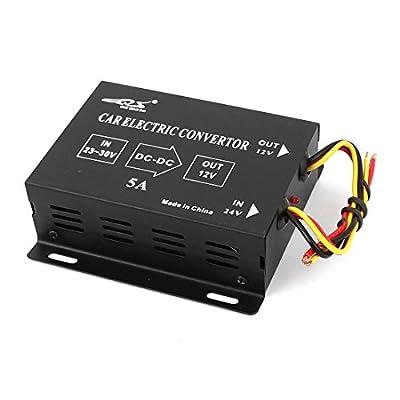 Black Plastic 5A DC 24V to 12V Voltage Reducer Converter for Car
