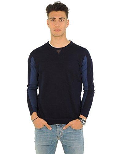 Paolo Pecora maglia uomo girocollo bicolore lana A031F0010004 (S, BLU)