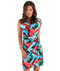 Print: General Print   Material: Cotton /Elastane /Polyester  Dress Length: Mini-Dress   Dress Silhouette: Shift   Neckline: Cowl  Plunging Neck  V-Neck   Skirt: Pencil Skirt  Embellishments: Gathered  Lined  Pullover  Sophisticated  Wrap   Size Category: Adult