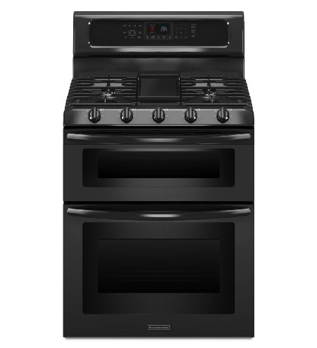 Kitchenaid KGRS505XBL 30-Inch, 5-Burner Freestanding Double Oven Range with Even-Heat Convection (Kitchen Aid Cooktop Gas compare prices)