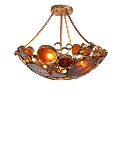 Varaluz Fascination 3-Light Semi Flush, Amber Bottle Glass