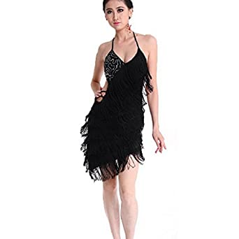 Sexy Backless Tassel Sequins Latin Rumba Dance Ballroom Dress Costumes