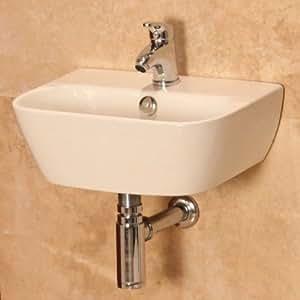 Modern Compact Bathroom Hand Wash Basin - Wall Mounted, 1 Tap Hole, En ...