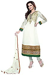 AAINA Women's Chiffon Unstitched Dress Material (White)