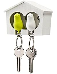 Imported Green & White Sparrow In White Bird House Keyring Key Holder & Whistle