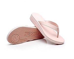 MonicKruh Shoes Womens Wedge Simple White High Heels Beach Flip Flop Wisp Sandals