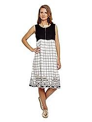 Jalebe Women's A-Line Dress_INDTJBL011_White & Black_L