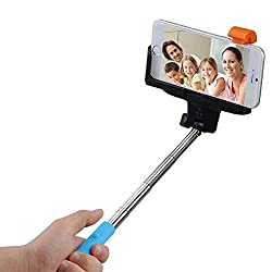 Mpow iSnap Pro Blue 2-In-1 Self-Portrait Monopod Selfie Stick with Built-In Bluetooth Remote Shutter (Blue)