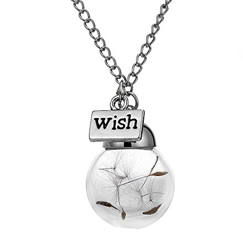 Gmai Wish Necklace Real Dandelion Seed Necklace Floating Pendant Necklace Bridesmaids Gift