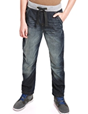Ribbed Waistband Bow Leg Jeans