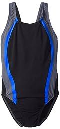 Speedo Big Girls\' Quark Splice Youth Swimsuit, Black/Blue, 22