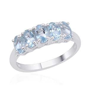 Espirito Santo Aquamarine 5 Stone Ring In Sterling Silver 1.000 Ct. (Size M)