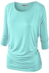 MBJ Womens 3/4 Sleeve Drape Top SIDE SHIRRING