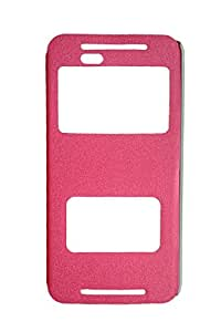 Newtronics Pink Colour GoldSand Sparkle Luxury PU Leather Window Flip Stand Back Case Cover For HTC One E9+ E9 Plus